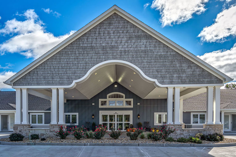 The Villas of Holly Brook & Reflections Memory Care entrance on Mechanical Drive in Bethalto, IL.